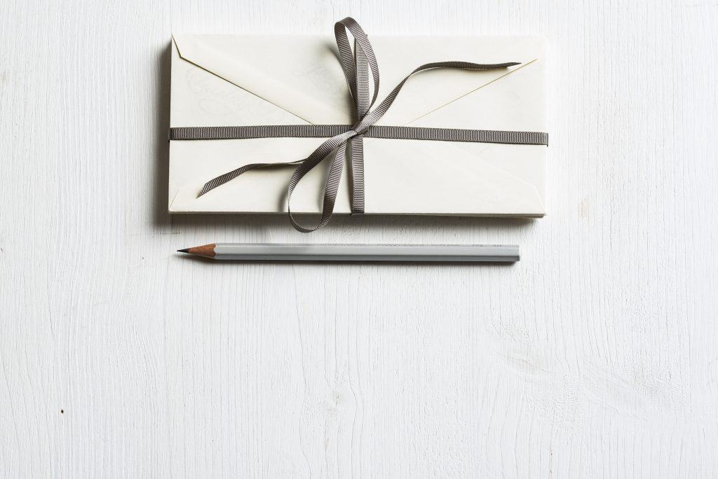 envelope with ribbon gift