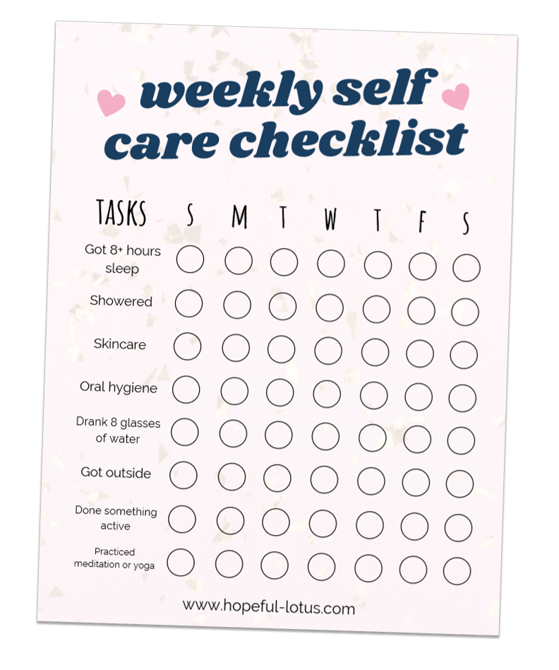 free weekly self care checklist