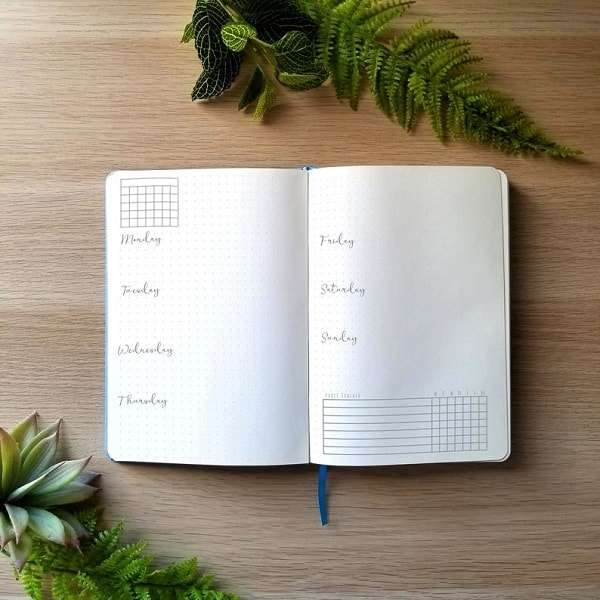 cloudberry premade bullet journal spread