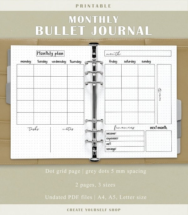 printable bullet journal monthly spread